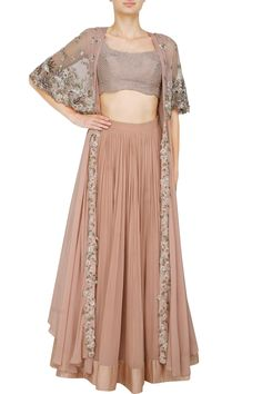 Ridhi Mehra's ethereal blush pink cape and lehenga set will make you like a princess with its flowing silhouette and intricate embroidery. Western Dresses, Indian Dresses, Indian Outfits, Indian Attire, Indian Wear, Cape Lehenga, Lehnga Dress, Sanha, Indian Couture