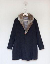 navy wool & fur ..er- faux fur of course.