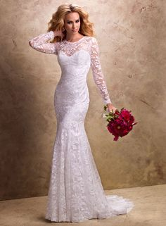 Buy 2014 Beautiful Slim Lace Long Sleeves Chapel Train Wedding Dress Online Cheap Prices