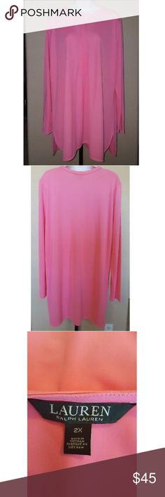 "Lauren Ralph Lauren Gorgeous Bright Pink Tunic A gorgeous bright pink long sleeve style tunic from Ralph Lauren. Ralph Lauren is known for his beautiful well made stylish clothing around the world. Tunic buttons 3/4 down the front and buttons are hidden. Tunic has rounded edges with a slight slit on the sides. Nice medium weight fabric and beautiful color. The fabric is 94% polyester and 6% elastane and is easy care machine wash cold. Beautiful fabric! Tunic s 31"" long and it is 24"" across…"