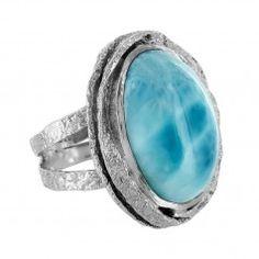 Sterling Silver Larimar Oval Textured Bezel Ring by Marija