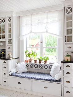 Kitchen Window Seat Decor Nooks New Ideas New Kitchen, Kitchen Decor, Kitchen Sink, Decorating Kitchen, Kitchen Seating, Kitchen White, Kitchen Cabinets, Kitchen Ideas, Kitchen Storage