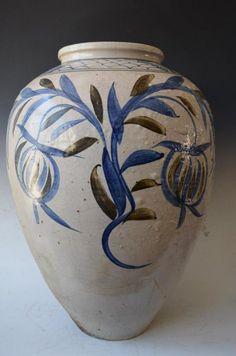 Large Antique Korean Blue and White Porcelain Vase