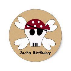 KRW Cute Pirate Skull and Crossbone Birthday Classic Round Sticker