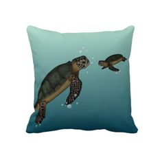 """Sea #Turtles Pillow $72 Throw Pillow 20"""" x 20""""  Accent your home with custom pillows. Made of 100% grade A cotton. The perfect complement to your couch, custom pillows will make you the envy of the neighborhood.      Sizes 20""""x20"""" (square) and 13""""x21"""" (lumbar).     100% grade A woven cotton.     Fabric is made from natural fibers, which may result in irregularities     Made in the USA.     Hidden zipper enclosure; synthetic-filled insert included.     Machine washable."""