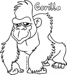 Free Printable Gorilla Coloring Sheets For Kids