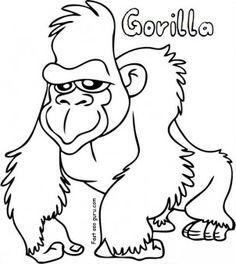 Free Printable Gorilla Coloring Sheets