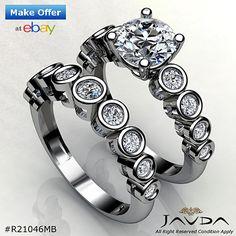 Bridal Set Round Diamond Engagement Bezel Set Ring GIA H VS2 Platinum 1.86 ct
