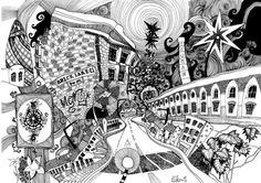 Lizzie Mary Cullen is a multi award-winning artist based in London. A natural talent with pen and ink, Cullen's doodle art has attracted the attention of many leading brands, including the BBC, MTV and Harvey Nichols. This intricate depiction of Brick Lane, is just one from Cullen's brilliant series titled London psychogeographies. #blackandwhite