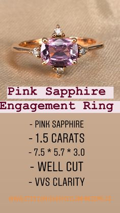 PINK SAPPHIRE  1.5 Carats 7.5 * 5.7 * 3.0 Well cut  VVS Clarity  Pink Peach Sapphire Engagement Ring,  This beautiful Cushion cut peach sapphire sits In the above the diamonds.  Unique design and Diamond engagement ring and Ring size is US 7.  Diamonds are carefully set on the side of Sapphire and it gives an extra  beauty.  Here you go,  This is a gorgeous Pink Peach Sapphire Engagement Ring and Diamond Engagement Ring with untreated 1.5 Ct Cushion Vivid Pink Stone for Pink Sapphire Lovers. Purple Sapphire, Natural Sapphire, 4 Diamonds, Yellow Diamonds, Pink Ring, Pink Stone, Rose Gold Engagement Ring, Gothic Girls, Gothic Lolita