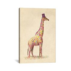 """East Urban Home Fashionable Giraffe by Terry Fan Graphic Art on Canvas Size: 26"""" H x 18"""" W x 0.75"""" D"""