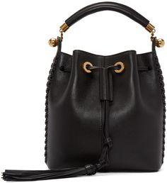 Chloé: Black Tassel Medium Gala Bucket Bag | SSENSE