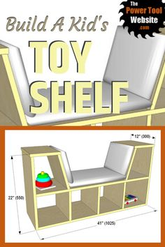 Plans for a fun and practical kids toy shelf / book case wood project for the play room! Great plywood project for beginners, with pocket hole construction. Plywood Projects, Wood Projects That Sell, Easy Wood Projects, Woodworking For Kids, Easy Woodworking Projects, Woodworking Plans, Diy Your Furniture, Wood Furniture, Toy Shelves