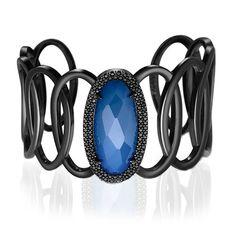 Pulseira em prata 925, 1 quartzo azul e 104 espinélios - Coleção Noturno Prata
