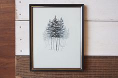 Yellow Cedar Grove by Emilie Crewe, 8 x 10 (framed), Graphite on layered mylar. #trees #art #drawing #mylar