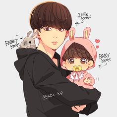 Jungkook fan art uploaded by nuha✨ on we heart it Jungkook Fanart, Vkook Fanart, Jungkook Cute, Jungkook 2017, Jikook, V Chibi, Cute Chibi, Namjin, Bts Drawings