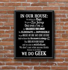 We Do Geek Wall Print, Black and White Fandom Printable, Dorm Decor Poster, Sherlock Holmes Quote, In Our House Rules Once Upon a Time Magic