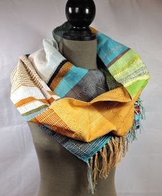 Loretta // Handwoven Daffodil Grass & Sky Blue Scarf by pidgepidge