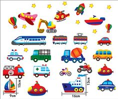 Baby Nursery Traffic Wall Decals for Kids Rooms, Nursery, Baby, Boys and Girls Bedroom - Peel and Stick,Removable Vinyl Wall Stickers - Lovely Bus Rocket Boat Train Truck Balloon Bike -- Discover this special deal, click the image : Nursery Decor
