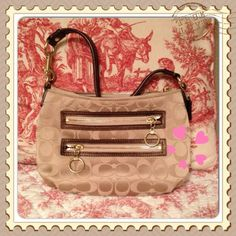 """Coach Poppy small handbag Super cute petite bag with tan sateen poppy Cs. Bronze shimmery trim with gold hardware. Can use as a xlarge wristlet or small bag. 2 exterior zipper pockets. Zipper closure. 9.5"""" long 6.5"""" high 7"""" strap drop. Used once maybe? Like new! Coach Bags"""