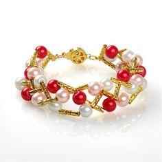 Crossover Beaded Jewels Bracelet. Craft ideas from LC.Pandahall.com   #pandahall