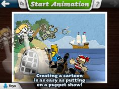 Toontastic ($0) FREE   1. Select a scene on the Story Arc: A Setup, Conflict, Challenge, Climax, or Resolution.  2. Draw your own Setting and Characters, or custom color a Character.  3. Press Start Animation button and move your characters around onscreen, telling your story through play. Toontastic will record & play back your animations & your voice as an animated cartoon.  4. Choose music for your scene.  The SLP uses this to work on storytelling skills and sequencing.