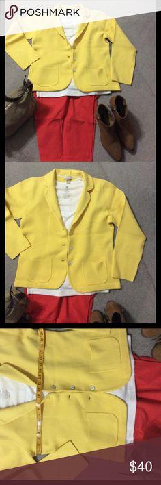 Banana Republic Sweater Blazer Beautiful sunshine yellow sweater blazer white buttons two front pockets. Previously loved Banana Republic Jackets & Coats Blazers