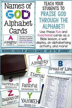 """Teach your students to Praise God - Through The Alphabet! Use these fun and functional cards as a Bible lesson, a wall display, an alphabetizing activity, and more! Resource created by Jessica Lawler, """"Joy in the Journey."""""""
