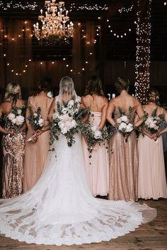 Gold Bridesmaids, Mismatched Bridesmaid Dresses, Wedding Bridesmaid Dresses, Bridesmaid Ideas, Burgundy Bridesmaid, Bridal Party Dresses, Bridesmaid Proposal, Bridesmaids With Different Dresses, Catholic Wedding Dresses