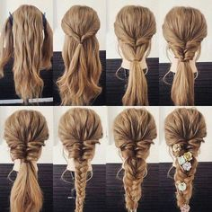 Which hairstyle fits you - Haare - Frisuren Braided Hairstyles Tutorials, Up Hairstyles, Wedding Hairstyles, Hairstyle Ideas, Wedding Updo, Messy Braid Tutorials, Long Hair Tutorials, Super Easy Hairstyles, Step By Step Hairstyles