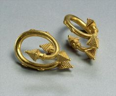 A pair of spiral earrings, c.450-400 BC (gold), Greek, (5th century BC)