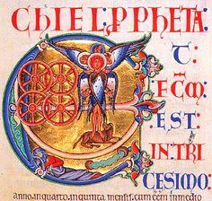 Bibbia di Winchester (f. 172), iniziale E (E[t factum est]), dal Libro di Ezechiele : la visione di Ezechiele del tetramorfo, simbolo degli evangelisti, e di ruote intersecanti piene di occhi.
