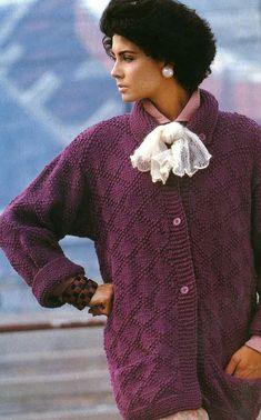 Ladies Plum Cardigan Knitting Pattern PDF No.0464  by TimelessOne