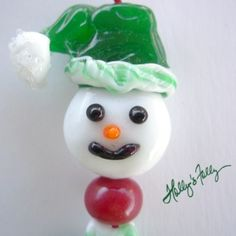 Santa Snowman Lampwork Bead Set by HollysFollyGlass on Etsy, $30.00