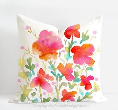"""Summer Blooms original design in red colours -linen/cotton Pillow Cover with invisible zipper. Available 16""""sq, 18""""sq, 20""""sq"""