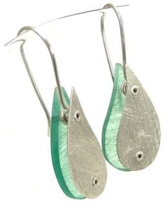 Riveted 1 - sterling silver and aqua resin earrings