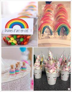 decoration anniversaire licorne sucette arc en ciel gobelet tête licorne graines bonbons