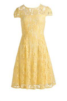 Emerge Sheer Top Lace Fit and Flare Dress - EziBuy Australia #yellow #lemon #dress #lace