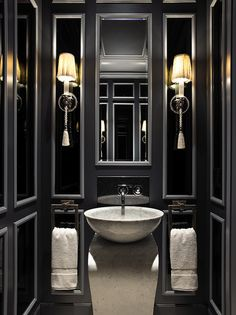 Totally feeling this #glam #bathroom. The dark colors we be great for winding down before #bed