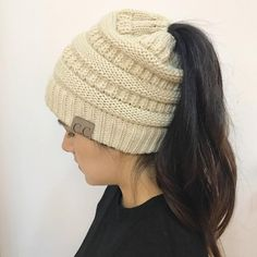 ea6608f4687f0 Knit Hat Ponytail Beanie. 2018 CC Warm Winter Hat For Women Ponytail Beanie  Stretch Cable Knit Messy Bun ...