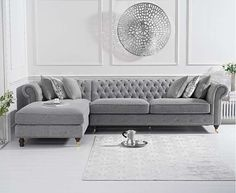 The Flora Grey Linen Left Facing Chesterfield Chaise Sofa in smooth linen with studded trims seats up to Large and family-friendly, with 6 additional matching scatter cushions. Corner Sofa Living Room, Living Room Sofa Design, Living Room Designs, Living Room Decor, Grey Corner Sofa, Chesterfield Corner Sofa, Grey Chaise Sofa, Large Sofa Bed, Modular Corner Sofa