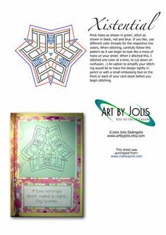 Xistential on Craftsuprint designed by Jolis DeAngelis - Intricate geometric abstract stitching pattern for all occasion cards. This pattern is not for a beginner, as it has some challenging complexity. You'll love it and I know you'll rise to that challenge! - Now available for download!
