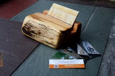 Wood Business Card Holder - Rustic live edges - Unique office gift, Dad gift, Husband Gift on Etsy, $14.00