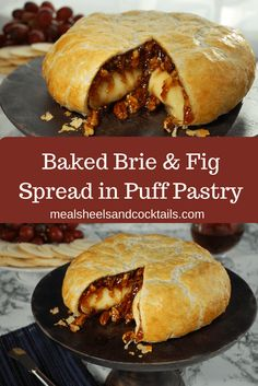 Baked Brie & Fig Spread in Puff Pastry -Delicious, gooey baked brie melts inside a shell of golden b Baked Brie Recipes, Fig Recipes, Puff Pastry Recipes, Cooking Recipes, Bree Cheese Recipes, Baked Brie Puff Pastry, Baked Brie With Jam, Salmon In Puff Pastry, Savory Pastry