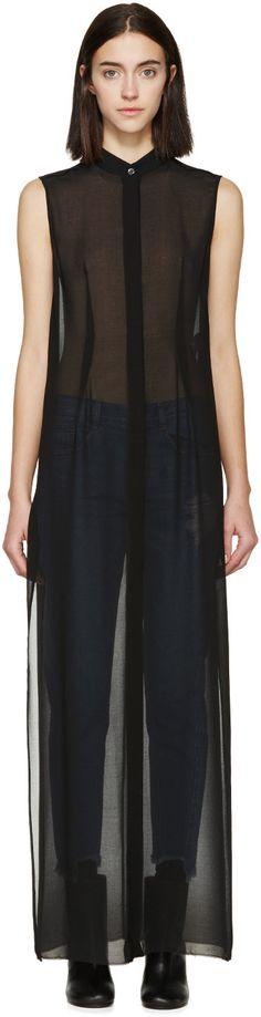MM6 Maison Margiela - Black Sleeveless Long Shirt