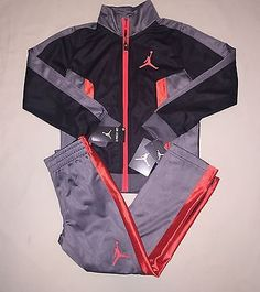 Boys Jordan Track Jacket Pants Outfit Set Size 5 Black / Gray Nwt