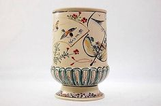 Satsuma ware vase with enamelled birds, flowers and landscape scenes with gold decorations by Kinkozan, Japan c. 1890