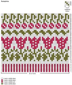 Ladies Cardigan Knitting Patterns, Knitted Mittens Pattern, Fair Isle Knitting Patterns, Knitting Charts, Weaving Patterns, Knitting Stitches, Free Knitting, Christmas Tree Knitting Chart, 123 Cross Stitch