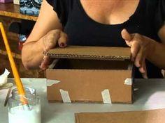 Aprenda a fazer uma caixa de papelão! - YouTube Cardboard Furniture, Cardboard Crafts, Paper Crafts, Fabric Covered Boxes, Fabric Boxes, Diy Gift Box, Diy Box, Diy Arts And Crafts, Hobbies And Crafts