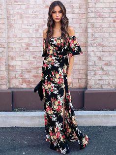 d2335a4052 Bohemia Floral Off shoulder Split-side Maxi Dress Boho Wedding Guest Dress